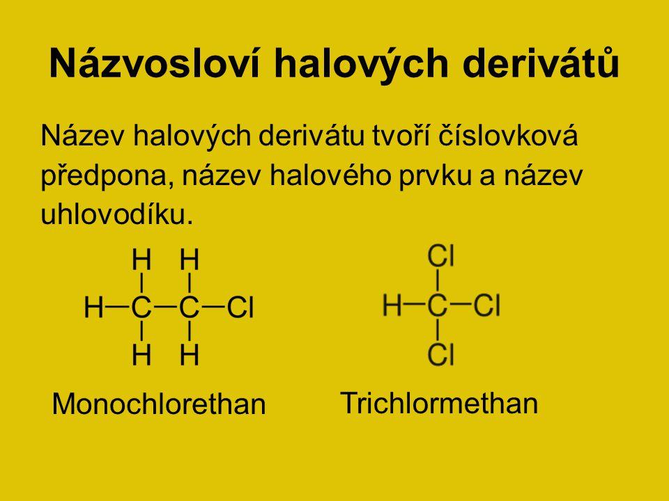 Názvosloví halových derivátů