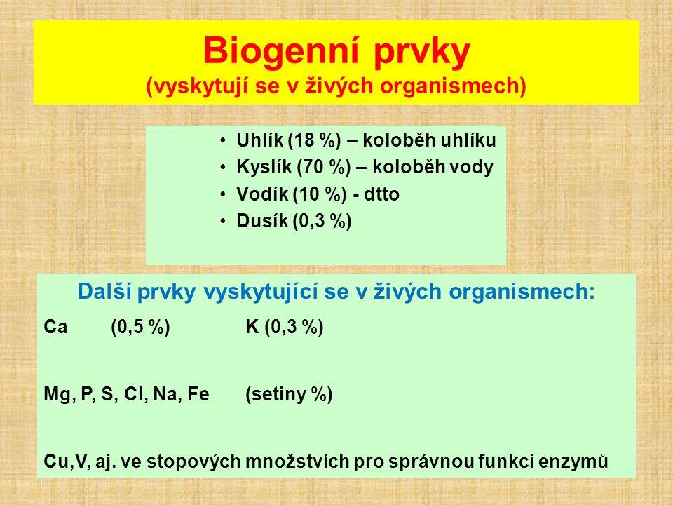 Biogenní prvky (vyskytují se v živých organismech)