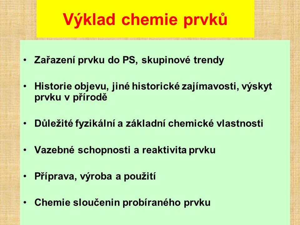 Výklad chemie prvků Zařazení prvku do PS, skupinové trendy