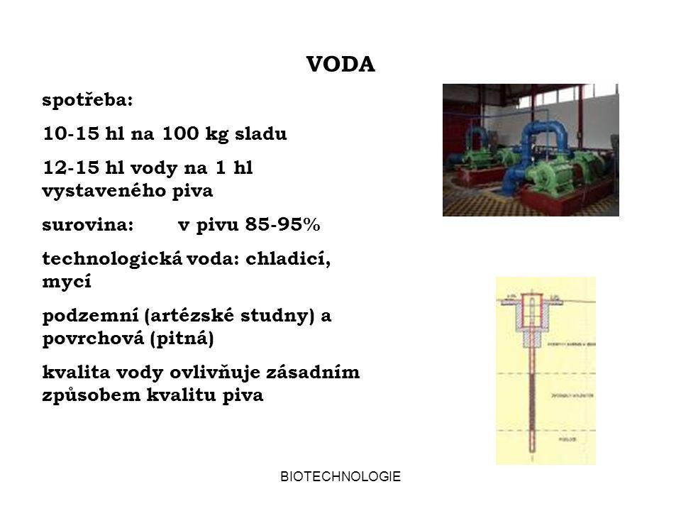 VODA spotřeba: 10-15 hl na 100 kg sladu