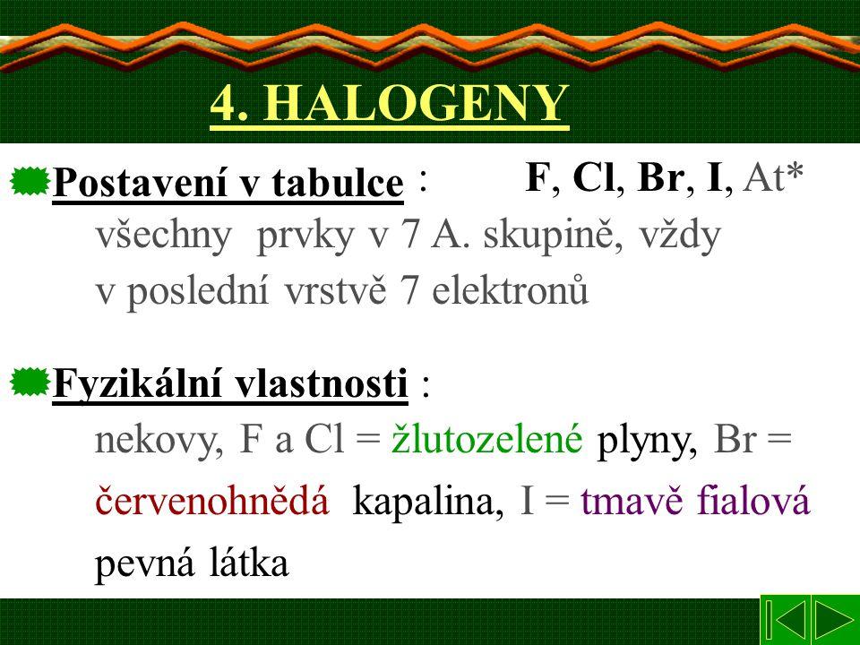 4. HALOGENY : F, Cl, Br, I, At* všechny prvky v 7 A. skupině, vždy v poslední vrstvě 7 elektronů.