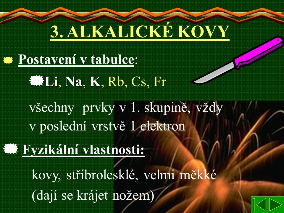 3. ALKALICKÉ KOVY Li, Na, K, Rb, Cs, Fr