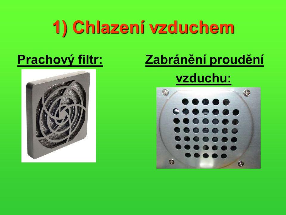 1) Chlazení vzduchem Prachový filtr: Zabránění proudění vzduchu: