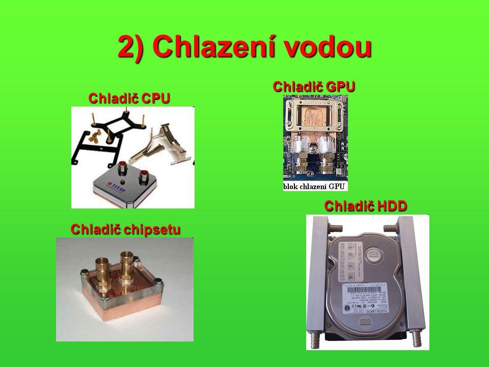 2) Chlazení vodou Chladič GPU Chladič CPU Chladič HDD Chladič chipsetu