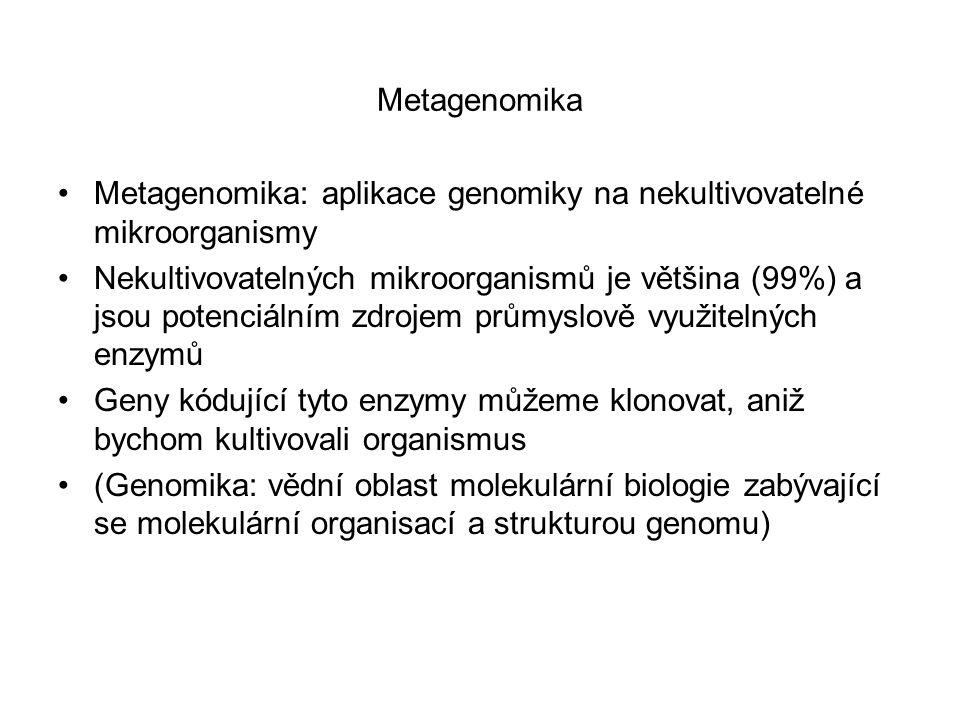 Metagenomika Metagenomika: aplikace genomiky na nekultivovatelné mikroorganismy.