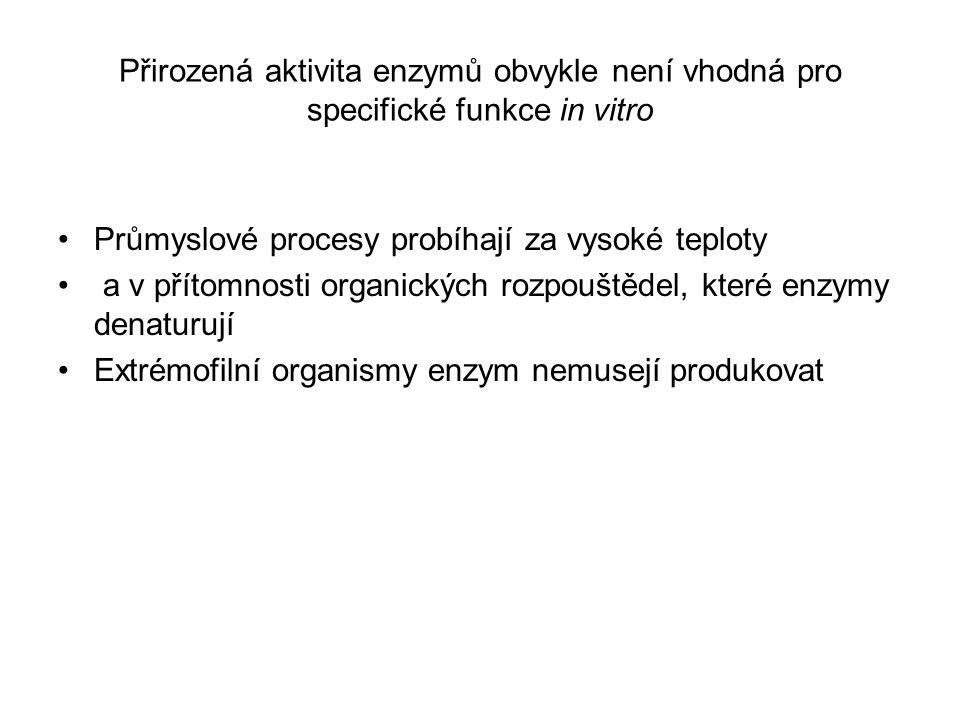 Přirozená aktivita enzymů obvykle není vhodná pro specifické funkce in vitro