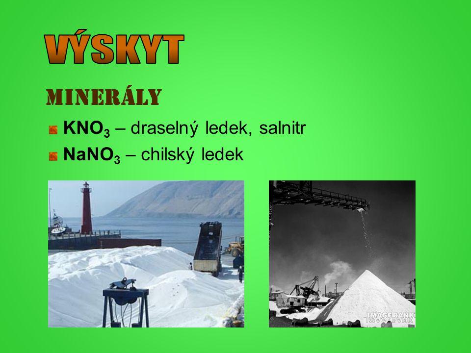 VÝSKYT minerály KNO3 – draselný ledek, salnitr NaNO3 – chilský ledek