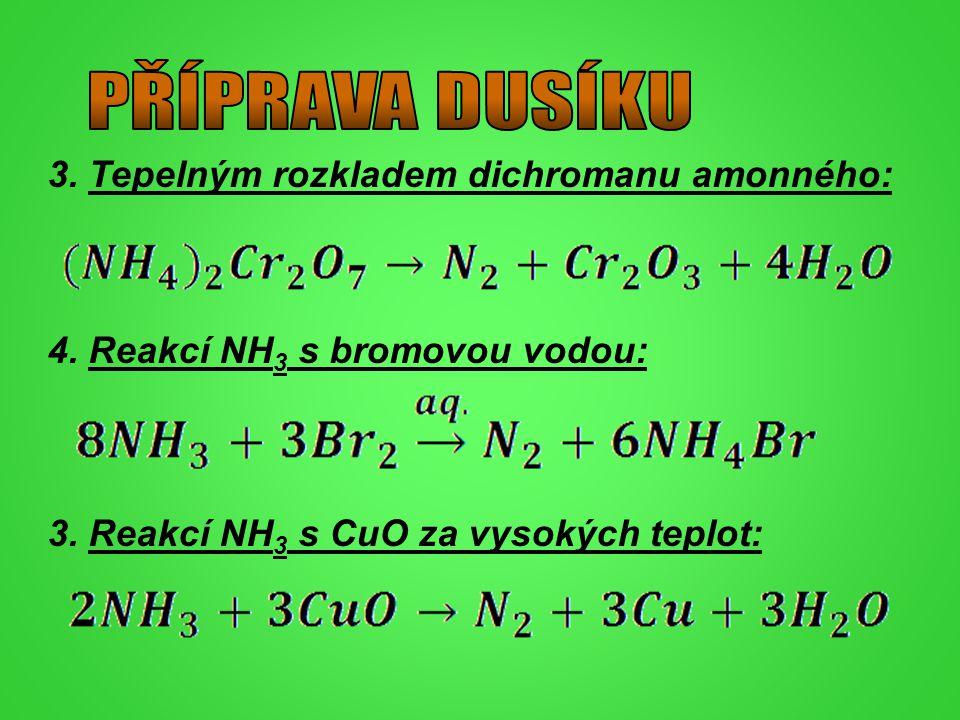 PŘÍPRAVA DUSÍKU 3. Tepelným rozkladem dichromanu amonného: