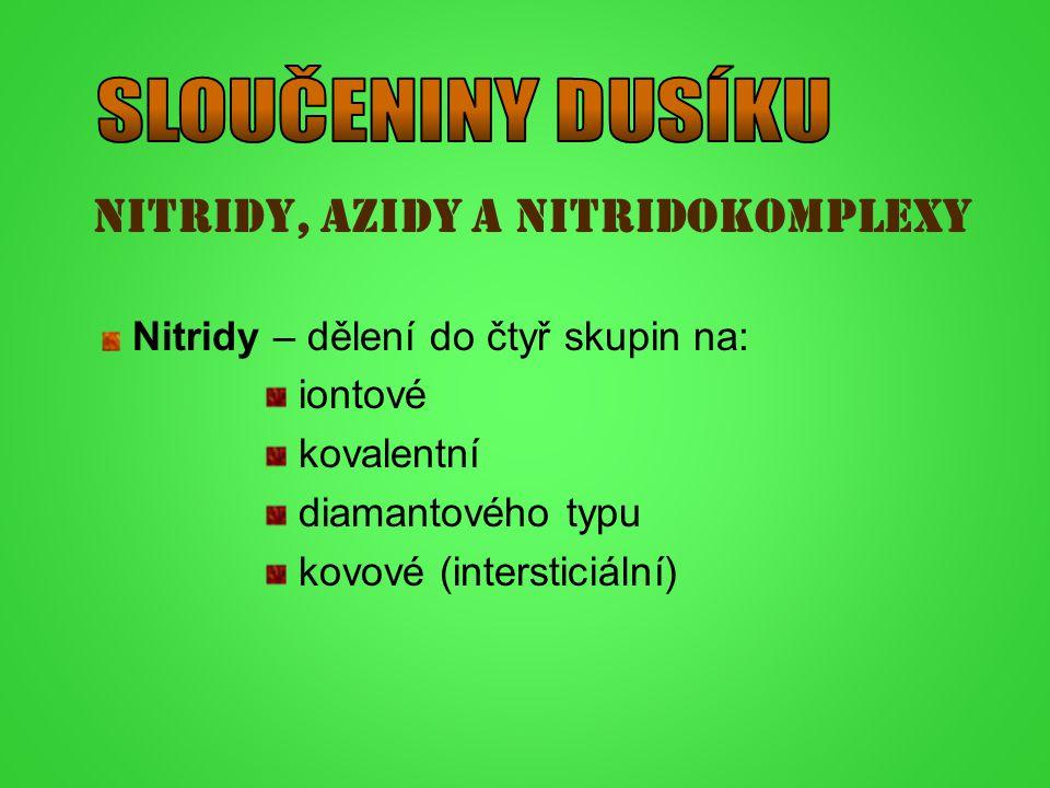 SLOUČENINY DUSÍKU Nitridy, azidy a nitridokomplexy
