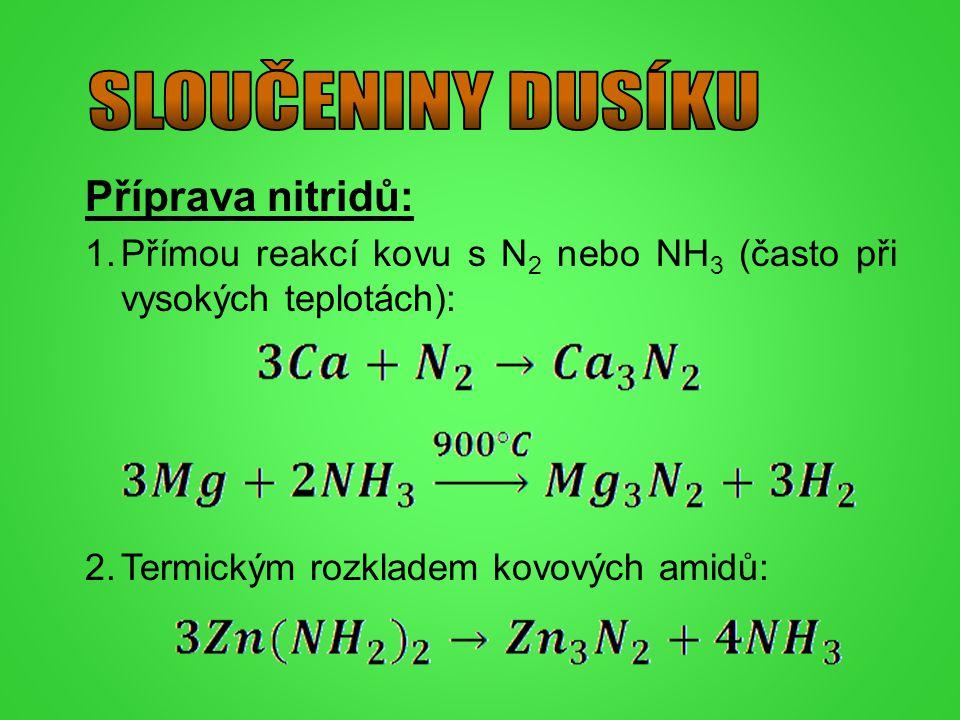 SLOUČENINY DUSÍKU Příprava nitridů: