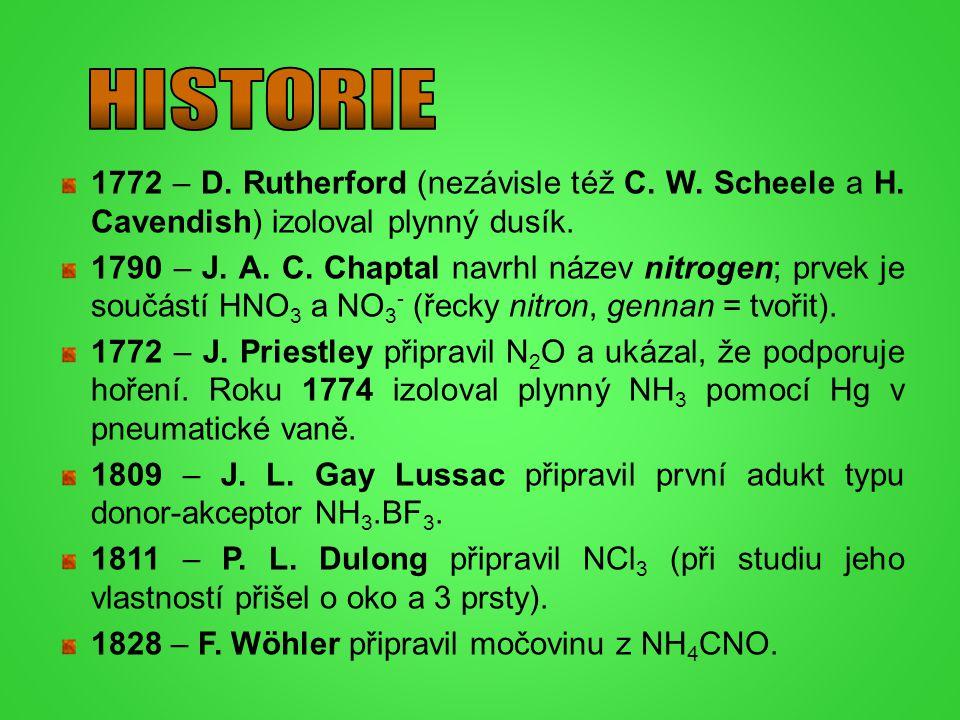 HISTORIE 1772 – D. Rutherford (nezávisle též C. W. Scheele a H. Cavendish) izoloval plynný dusík.
