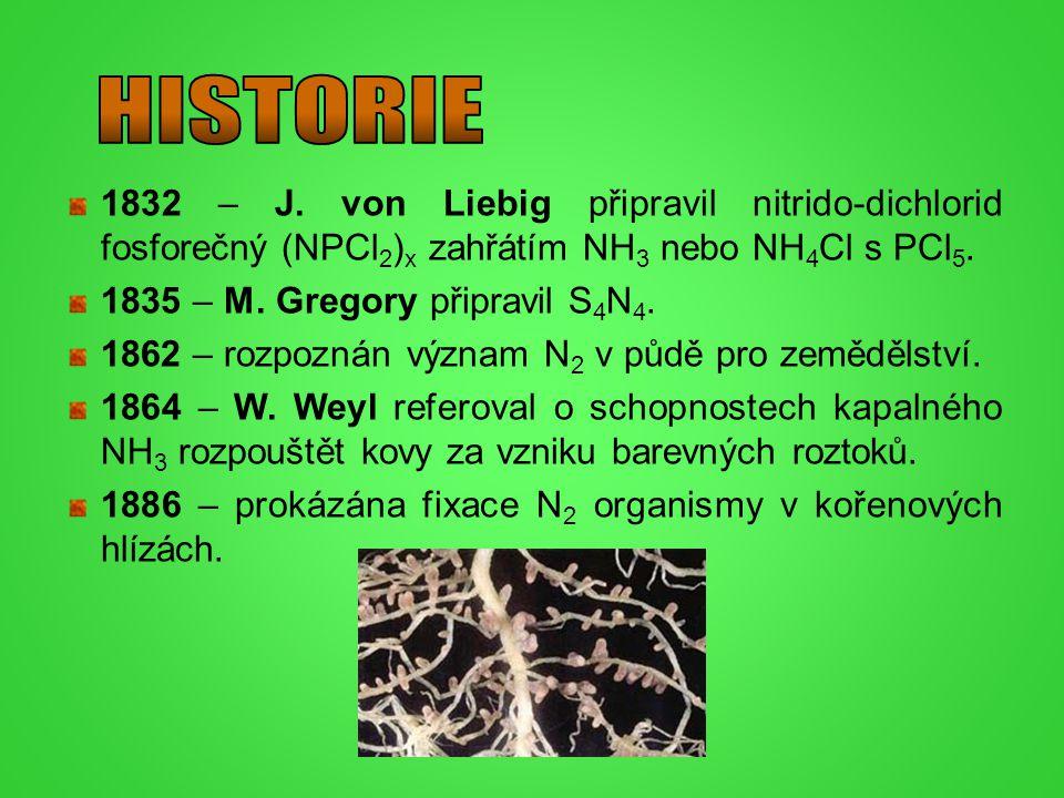 HISTORIE 1832 – J. von Liebig připravil nitrido-dichlorid fosforečný (NPCl2)x zahřátím NH3 nebo NH4Cl s PCl5.