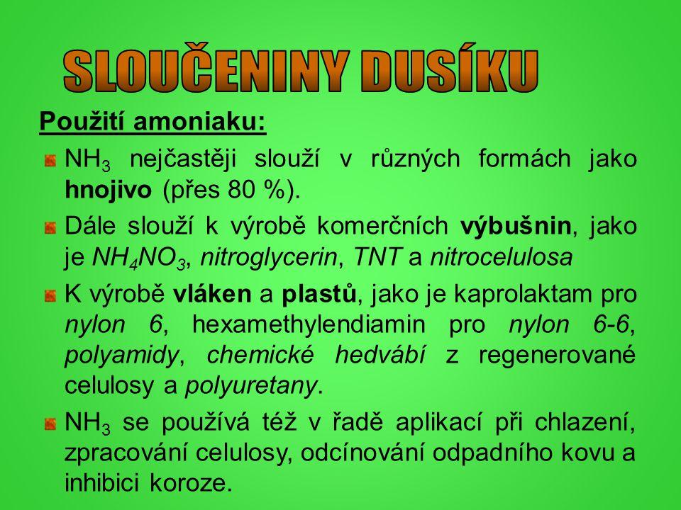 SLOUČENINY DUSÍKU Použití amoniaku: