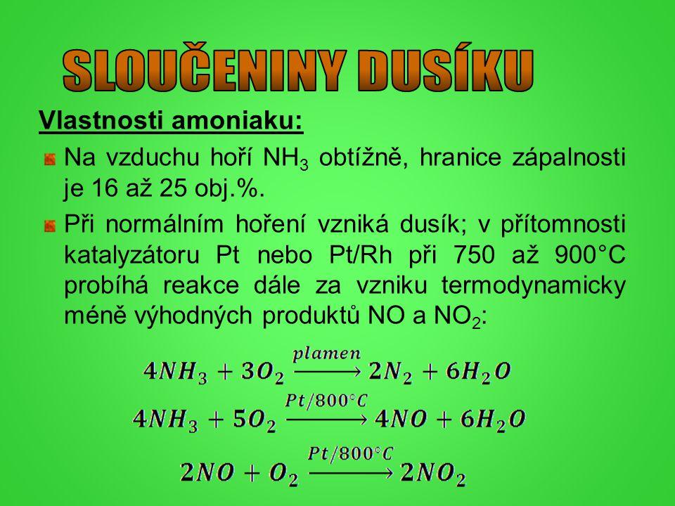 SLOUČENINY DUSÍKU Vlastnosti amoniaku: