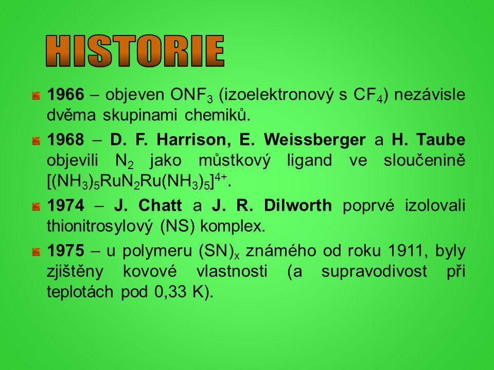 HISTORIE 1966 – objeven ONF3 (izoelektronový s CF4) nezávisle dvěma skupinami chemiků.
