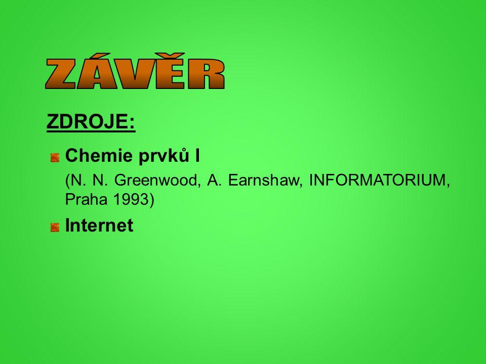 ZÁVĚR ZDROJE: Chemie prvků I Internet