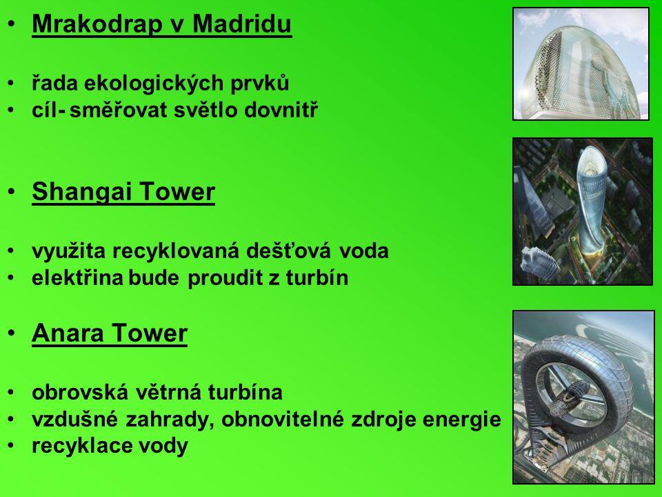 Mrakodrap v Madridu Shangai Tower Anara Tower řada ekologických prvků