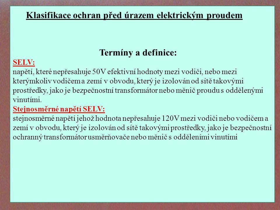 Klasifikace ochran před úrazem elektrickým proudem