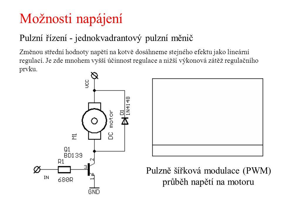 Možnosti napájení Pulzní řízení - jednokvadrantový pulzní měnič