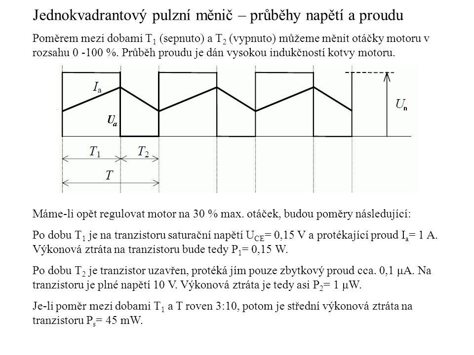 Jednokvadrantový pulzní měnič – průběhy napětí a proudu