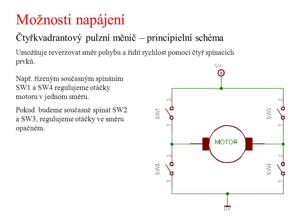 Možnosti napájení Čtyřkvadrantový pulzní měnič – principielní schéma