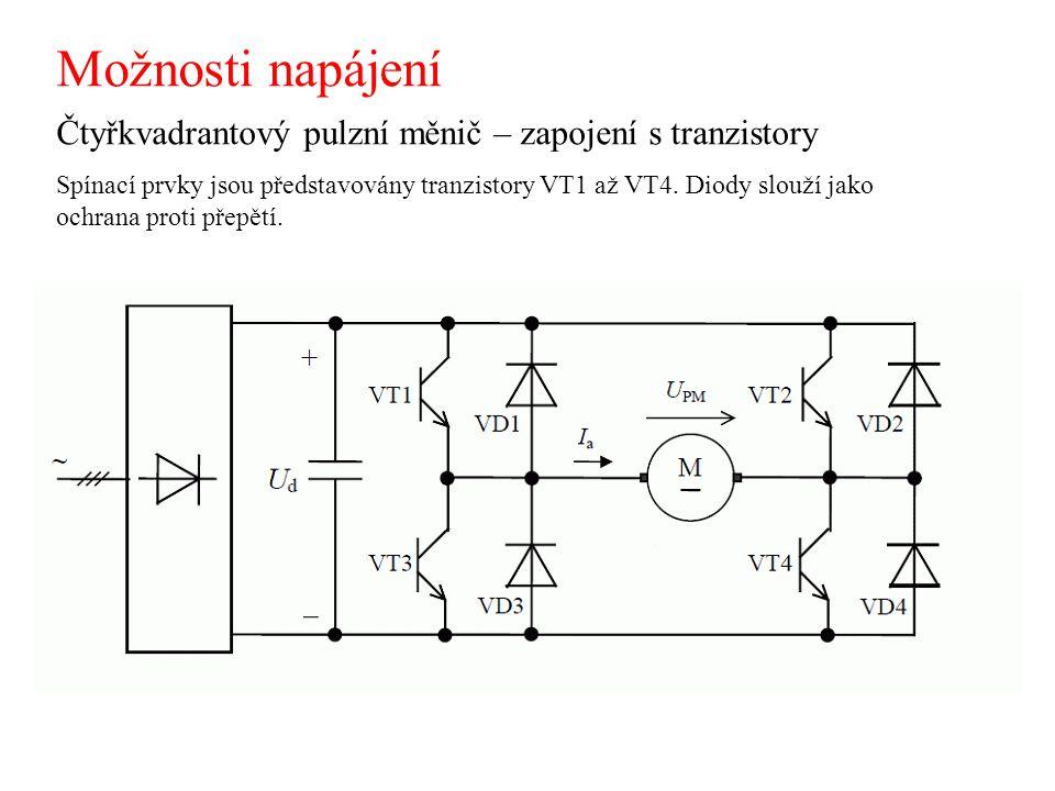 Možnosti napájení Čtyřkvadrantový pulzní měnič – zapojení s tranzistory.
