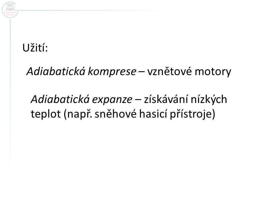 Užití: Adiabatická komprese – vznětové motory.
