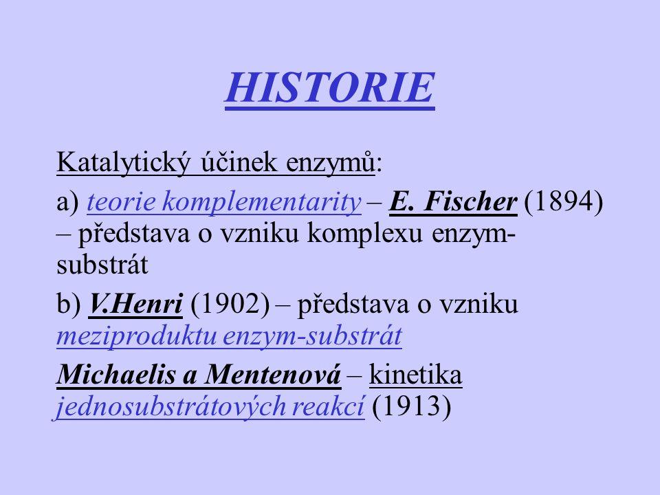 HISTORIE Katalytický účinek enzymů: