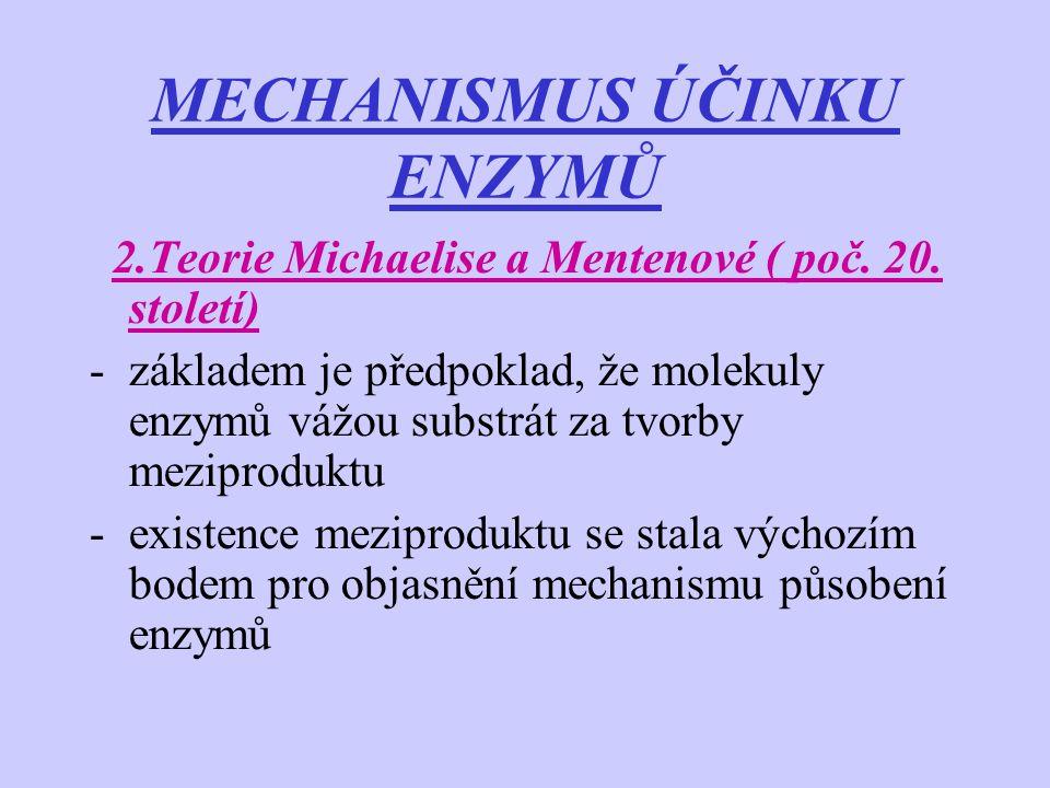 MECHANISMUS ÚČINKU ENZYMŮ