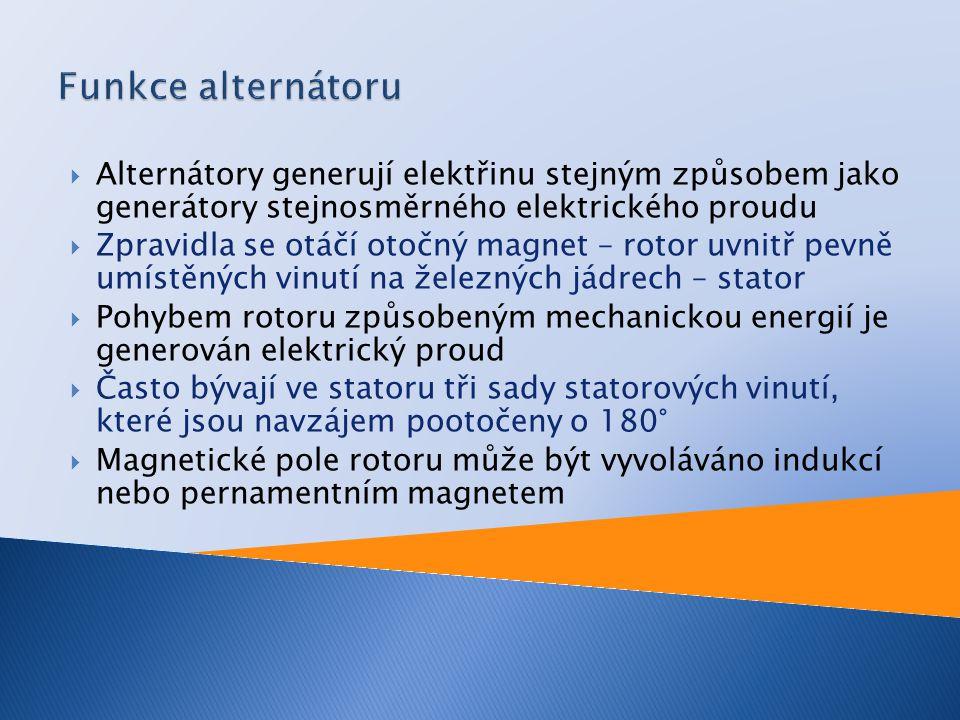 Funkce alternátoru Alternátory generují elektřinu stejným způsobem jako generátory stejnosměrného elektrického proudu.