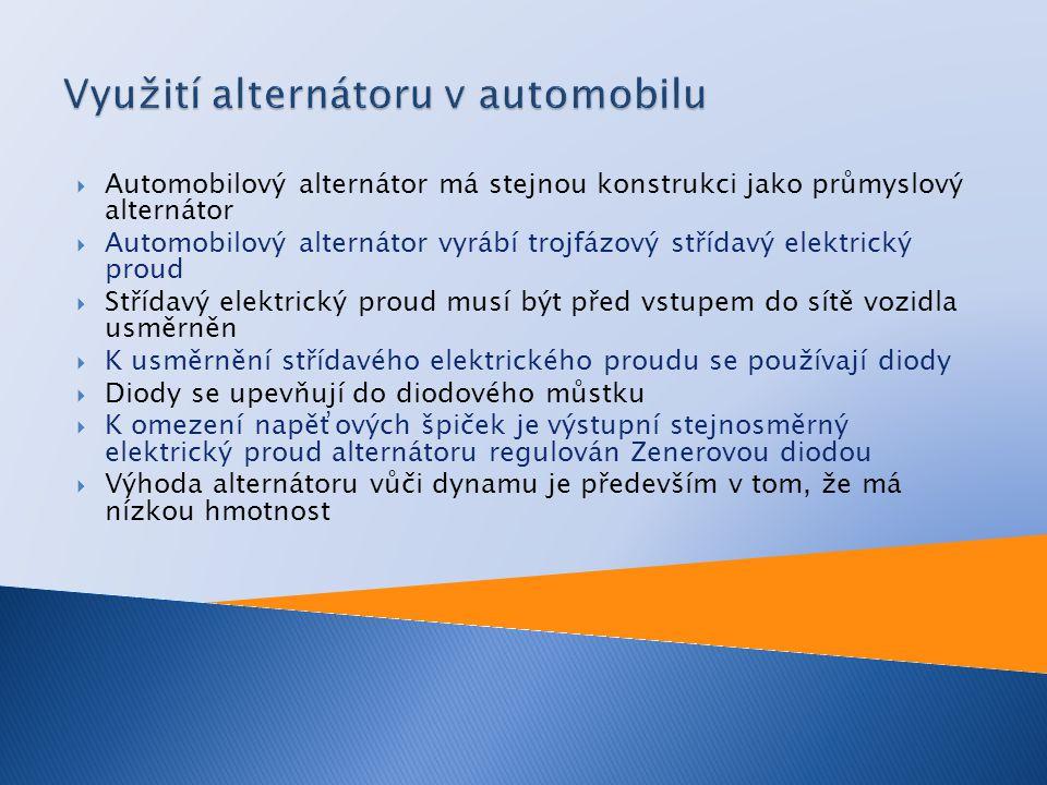 Využití alternátoru v automobilu