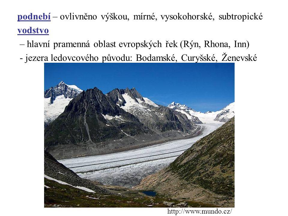 podnebí – ovlivněno výškou, mírné, vysokohorské, subtropické vodstvo – hlavní pramenná oblast evropských řek (Rýn, Rhona, Inn) - jezera ledovcového původu: Bodamské, Curyšské, Ženevské