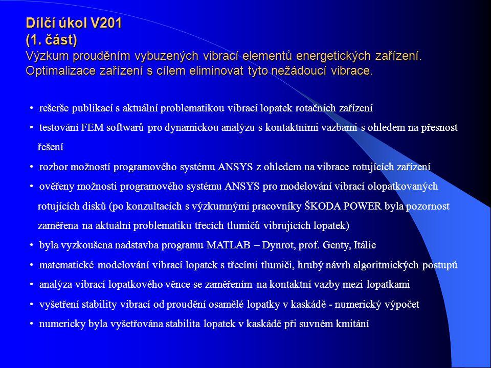 Dílčí úkol V201 (1. část) Výzkum prouděním vybuzených vibrací elementů energetických zařízení. Optimalizace zařízení s cílem eliminovat tyto nežádoucí vibrace.