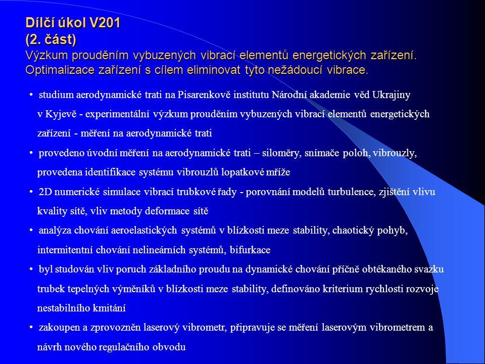 Dílčí úkol V201 (2. část) Výzkum prouděním vybuzených vibrací elementů energetických zařízení. Optimalizace zařízení s cílem eliminovat tyto nežádoucí vibrace.