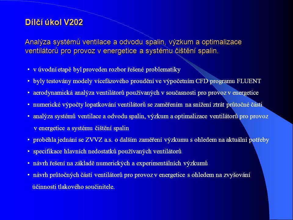 Dílčí úkol V202 Analýza systémů ventilace a odvodu spalin, výzkum a optimalizace ventilátorů pro provoz v energetice a systému čištění spalin.