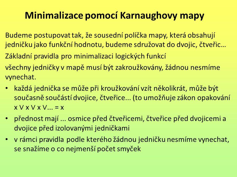 Minimalizace pomocí Karnaughovy mapy