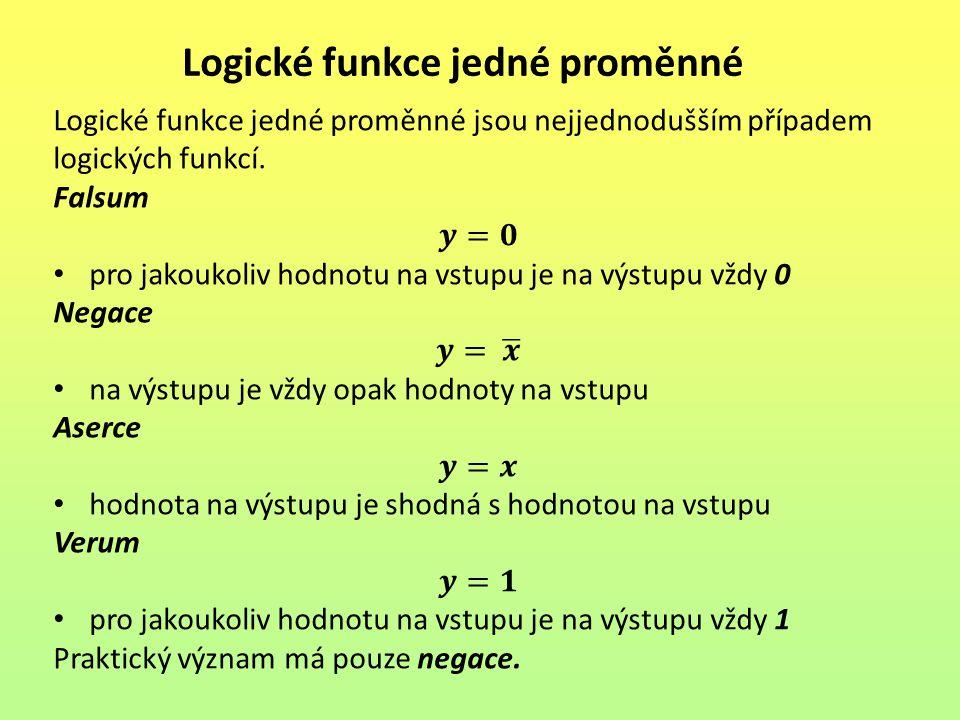 Logické funkce jedné proměnné
