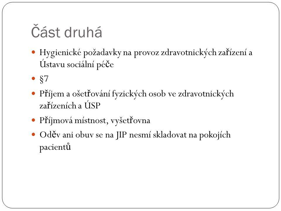 Část druhá Hygienické požadavky na provoz zdravotnických zařízení a Ústavu sociální péče. §7.