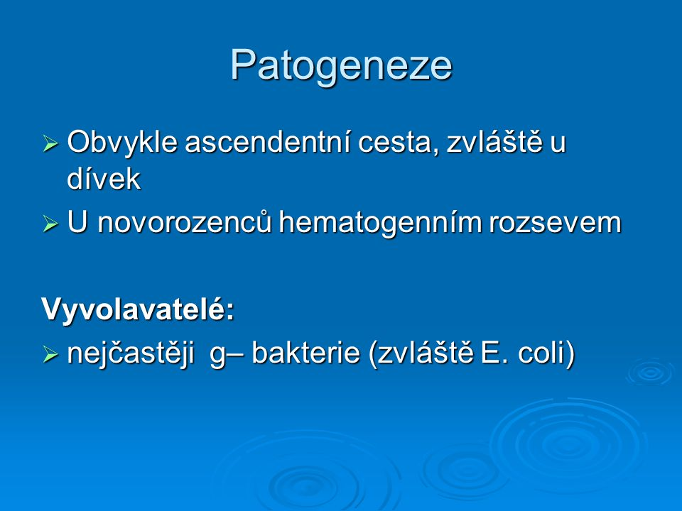 Patogeneze Obvykle ascendentní cesta, zvláště u dívek