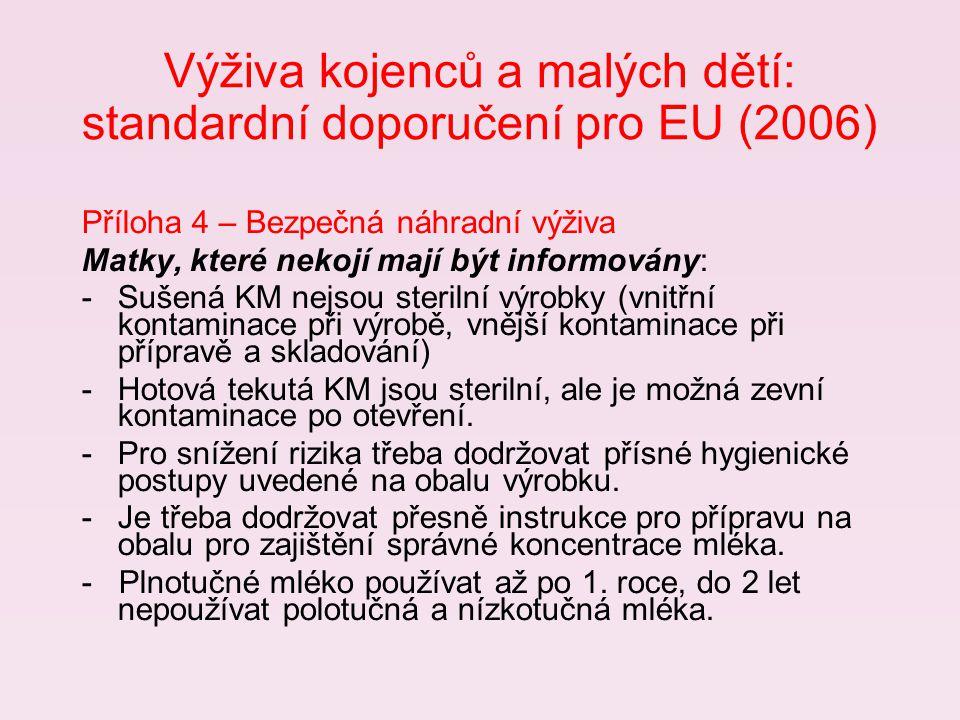 Výživa kojenců a malých dětí: standardní doporučení pro EU (2006)
