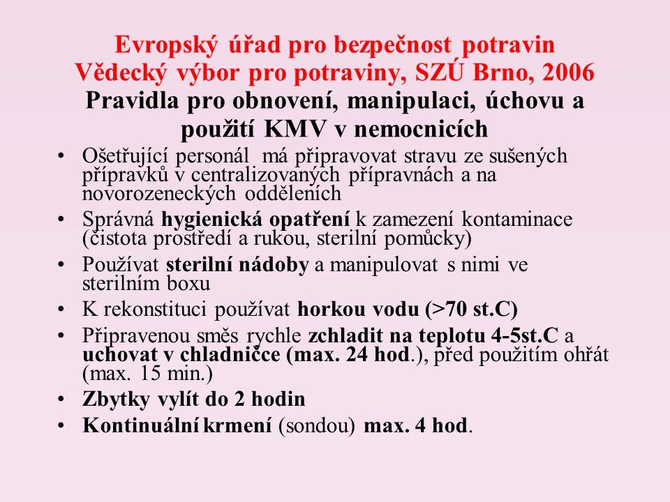 Evropský úřad pro bezpečnost potravin Vědecký výbor pro potraviny, SZÚ Brno, 2006 Pravidla pro obnovení, manipulaci, úchovu a použití KMV v nemocnicích