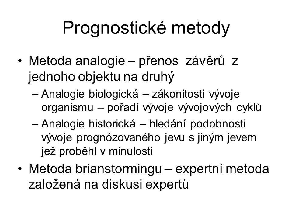 Prognostické metody Metoda analogie – přenos závěrů z jednoho objektu na druhý.