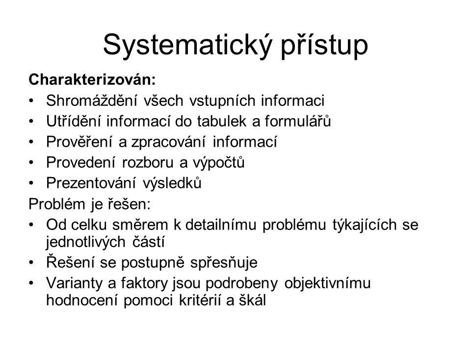 Systematický přístup Charakterizován: