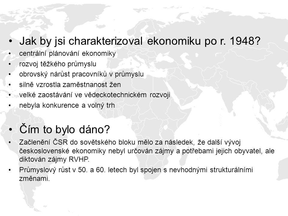 Jak by jsi charakterizoval ekonomiku po r. 1948