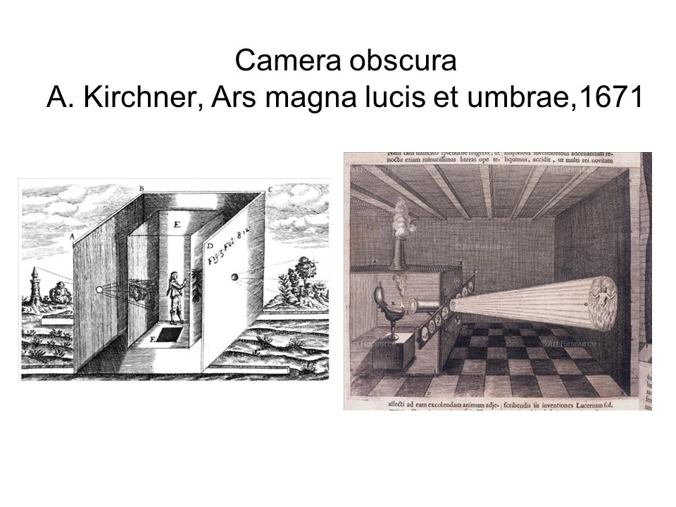 Camera obscura A. Kirchner, Ars magna lucis et umbrae,1671