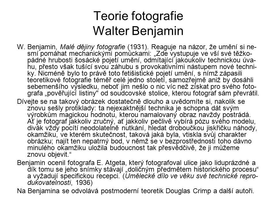 Teorie fotografie Walter Benjamin