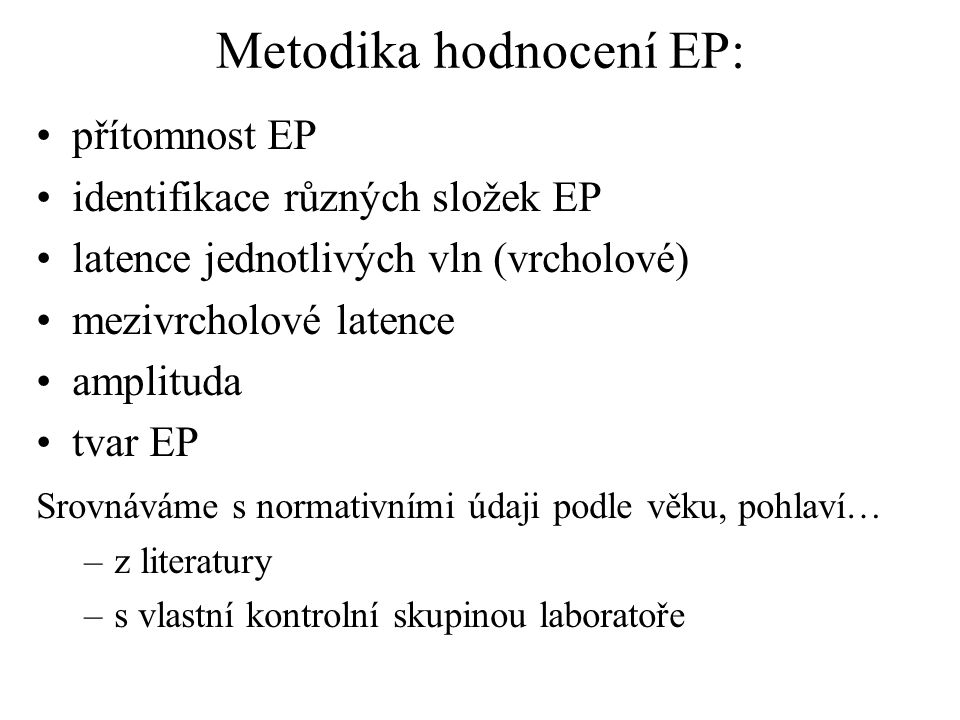 Metodika hodnocení EP: