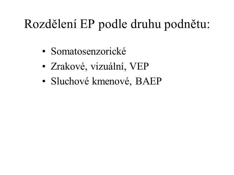 Rozdělení EP podle druhu podnětu: