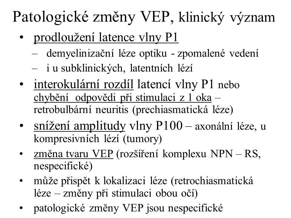 Patologické změny VEP, klinický význam