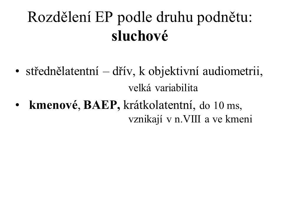 Rozdělení EP podle druhu podnětu: sluchové